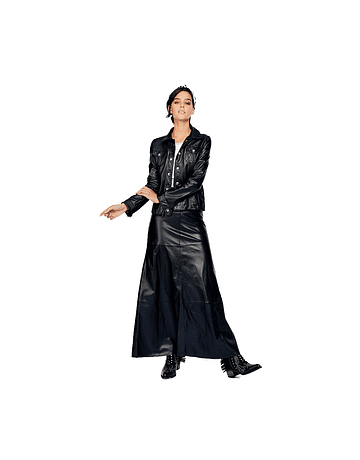 Falda cuero larga negro