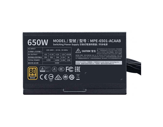FUENTE REAL 650W 80PLUS BRONZE - COOLER MASTER