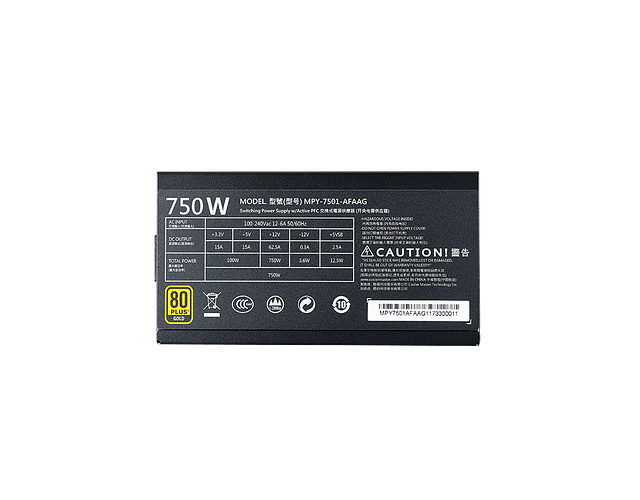 FUENTE REAL 750W 80P GOLD FULL MODULAR - COOLER MASTER