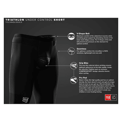 SHORT UNDER CONTROL TRIATHLON BLACK COMPRESSPORT