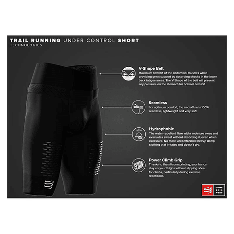 SHORT UNDER CONTROL TRAIL RUNNING BLACK COMPRESSPORT