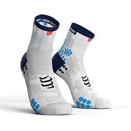 CALCETÍN PRO RACING RUN V3 WHITE/BLUE COMPRESSPORT HI