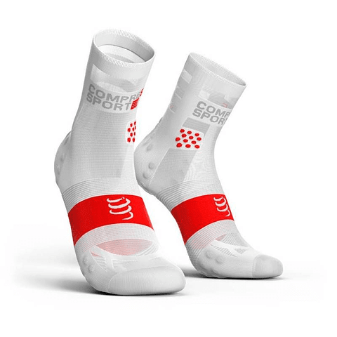 CALCETA ULTRALIGHT RUN V3 WHITE/RED COMPRESSPORT HI
