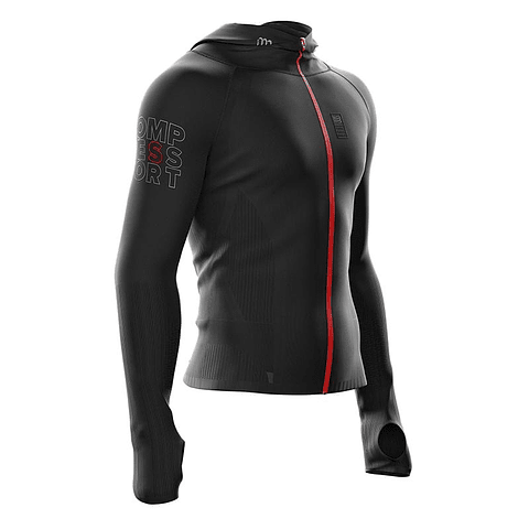 3D THERMO SEAMLESS WOODPULP ZIP HOODIE BLACK COMPRESSPORT
