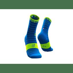 CALCETÍN COMPRESSPORT ULTRALIGHT RUN FLUO/BLUE