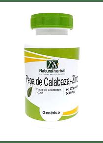Pepa de Calabaza + Zinc - 60 Cápsulas 500 mg.