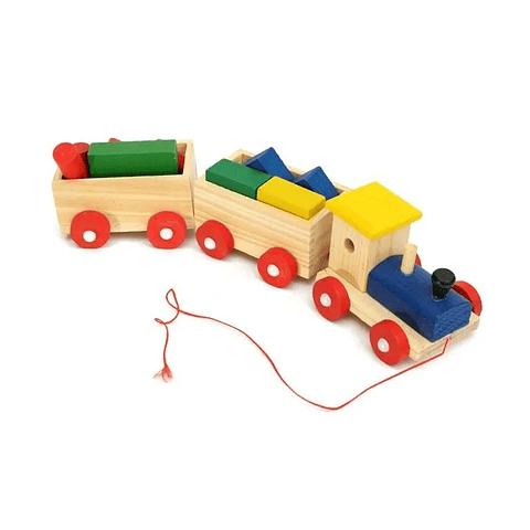 Tren con bloques de madera