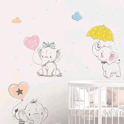 Sticker decoración para habitación elefantes