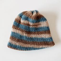 Gorro de lana café-azul  para bebés