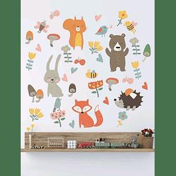 Sticker decoración para habitación amigos del bosque