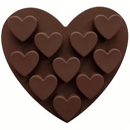 Molde Chocolate 10 Corazones Silicona