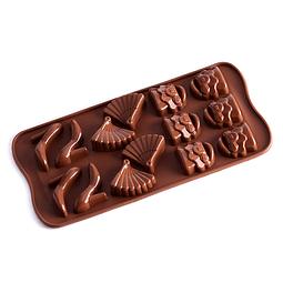 Molde Chocolate Tacón, Abanico y Cartera Silicona