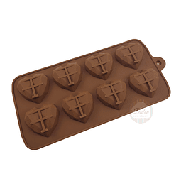 Molde Chocolate  Corazón Diamante Pequeño 8 Cavidades