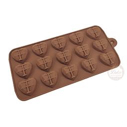 Molde Chocolate Silicona Corazon Diamante 15 Cavidades