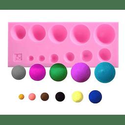 Molde Fondant Silicona 11 Semi Esferas