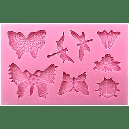 Molde Fondant Silicona Mariposas e Insectos