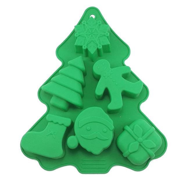Molde Pino Navidad con 6 Figuras Silicona