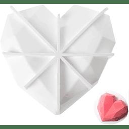 Molde Silicona Corazón Diamante Grande con Base