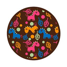 Transfer para Chocolate Dinosaurio y Hoja 04-127