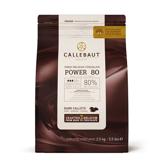 Chocolate Callebaut Negro Power 80 2,5 kg.