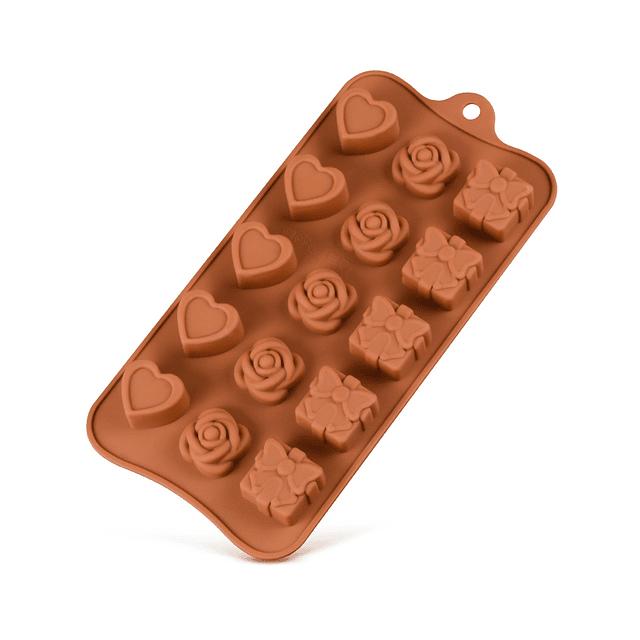 Molde Chocolate Corazón, Flor y Regalo Silicona
