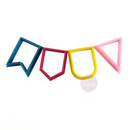 Set Cortadores Plásticos Banderines 4 Piezas