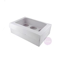 Caja 6 Cupcakes Blanca Cartulina