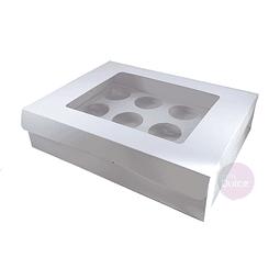 Caja 12 Cupcakes Blanca Cartulina