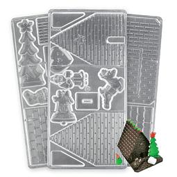 Molde Casa Jengibre Navidad Acrílico 3 Piezas