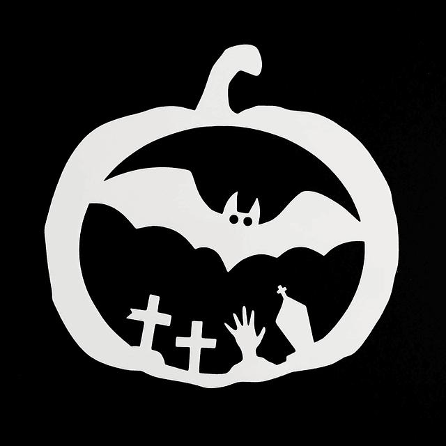 Stencil Halloween Calabaza - Murcielago
