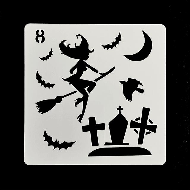 Stencil Halloween Cuadrado Bruja 8