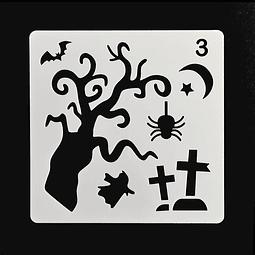 Stencil Halloween Cuadrado Arbol 3