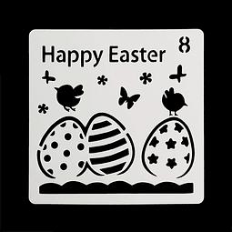Stencil Pascua Cuadrado Happy Easter 8