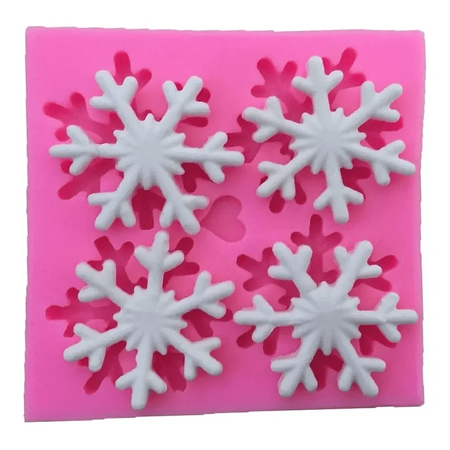 Molde Fondant 4 Copos de Nieve Silicona