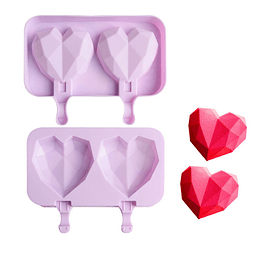 Molde Helado Cakesicles Corazón Diamante 2 Cavidades