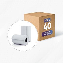 40 rollos papel termico 57 mm x 20 mts