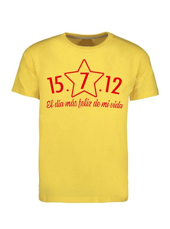 Camiseta cuello redondo Amarilla Hombre - Talla M - El día más feliz de mi vida.