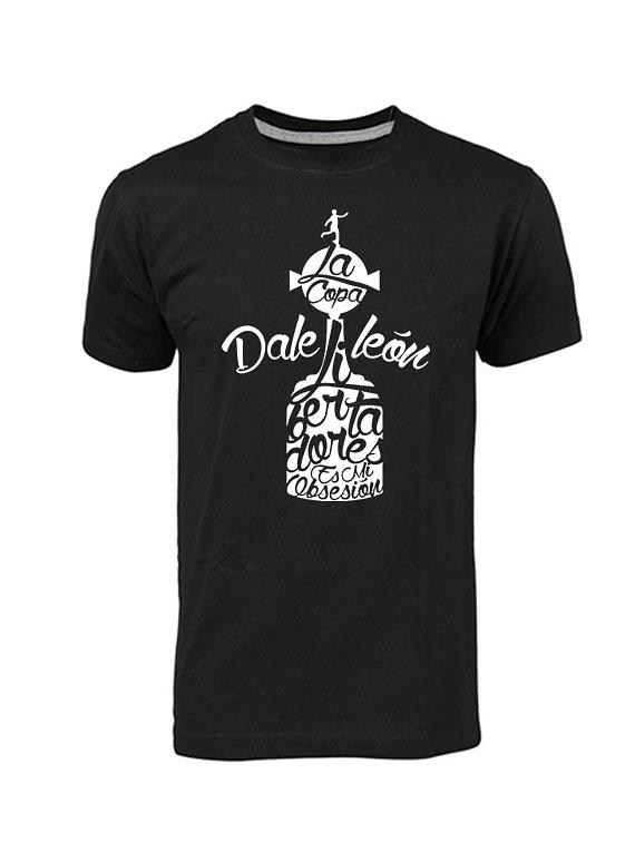 Camiseta Cuello Redondo Negra - Hombre - Talla M - Dale León Libertadores