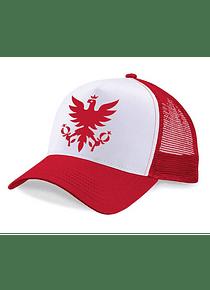 Gorra de Malla Roja/Blanco - Águila