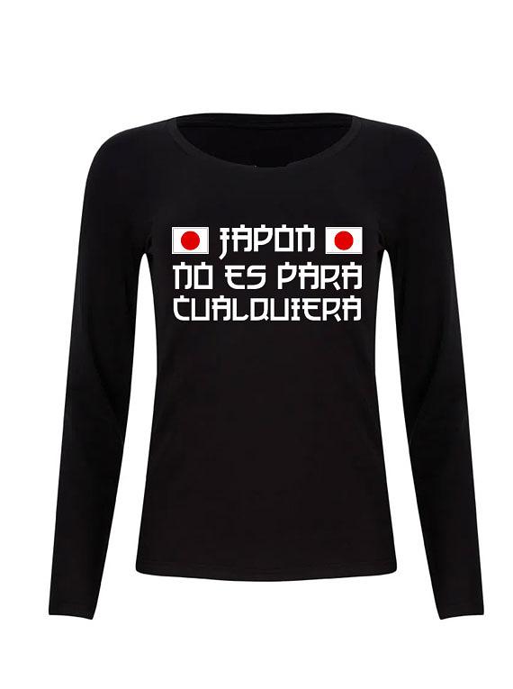 Camiseta Manga Larga Negra de Mujer - Talla L - Japón no es para cualquiera