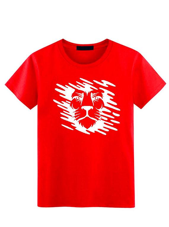 Camiseta Cuello Redondo - Rojo - Hombre - Talla L - León Manchas