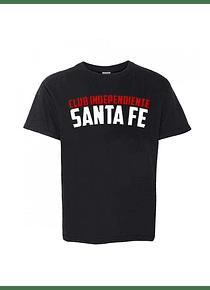 Camiseta Cuello Redondo de Niñ@ -  Negra - Talla 4 - (Club Independiente Santa Fe)