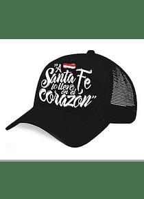 Gorra - DRIL - Negro con blanco - A santa fe lo llevo en el corazon
