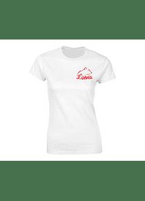Cam. Mujer - blanca - Talla L - Cuello R - Leona (Esc)