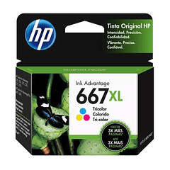 HP 667XL Tricolor | Alto Rendimiento | Tinta Original