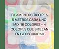 FILAMENTOS PLA 5 METROS C/U MIX 20 UND AC PPC GOLD | FILAMENTOS