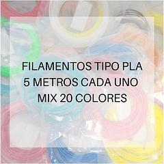 FILAMENTOS PLA 5 METROS C/U MIX 20 UND PPC | FILAMENTOS