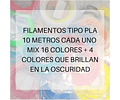FILAMENTOS PLA 10 METROS C/U MIX 20 UND AC PPC GOLD | FILAMENTOS