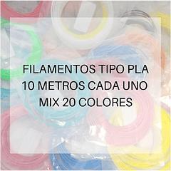 FILAMENTOS PLA 10 METROS C/U MIX 20 UND PPC | FILAMENTOS