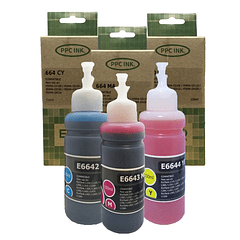 EPSON T6642 T6643 T6644 | PACK COLORES | CYAN MAGENTA YELLOW | Tinta Alternativa | EcoCaja | PPC